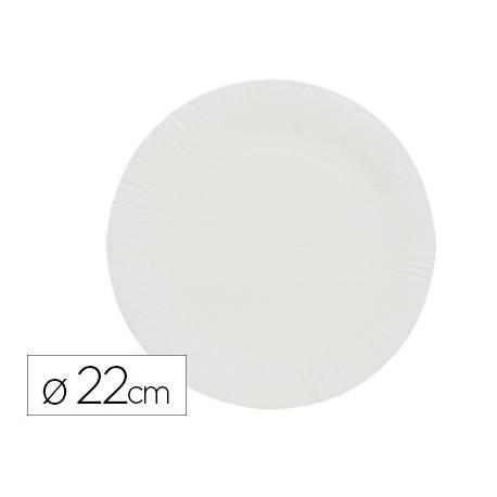 Plato de papel reciclable 23 cm blanco