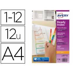 Separadores Avery DIN A4 Polipropileno Imprimibles 12 Pestañas Colores Surtidos