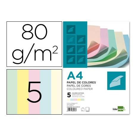 Papel color Liderpapel A4 80 g/m2 Colores Surtidos 500 hojas