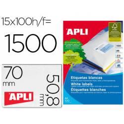 Etiquetas Apli para impresoras Inkjet, Láser y Fotocopiadoras 70x50,8 mm caja 100 hojas A4