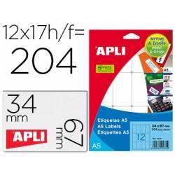 12 x 30 mm Etiquetas Apli adhesivas 01861, en hojas A5