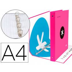 Carpeta 4 anillas 40mm Liderpapel Antartik A4 rosa carton forrado