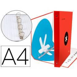 Carpeta 4 anillas 40mm Liderpapel Antartik A4 rojo carton forrado