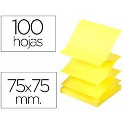 Bloc de notas adhesivas Q-connect 75x75 mm 100 hojas amarillo neon Zig-Zag