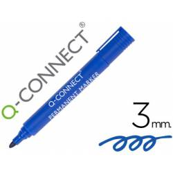 Rotulador Q-Connect punta de fibra permanente 3 mm azul