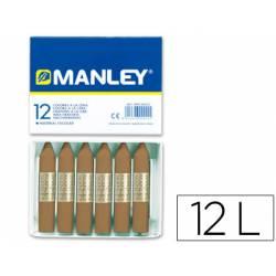 Lapices cera blanda Manley caja 12 unidades color tierra sombra tostado