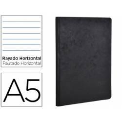 Libreta Clarefontaine negro A5 tapa cartulina rayado horizontal 96 hojas