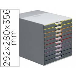 Fichero cajones Durable plastico aplilables 10 cajones gris