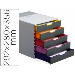 Fichero cajones Durable plastico aplilables 5 cajones gris