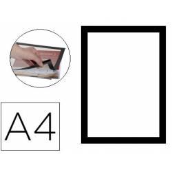 Marco porta anuncios Magneto Q-Connect A4 adhesivo negro Pack de 2