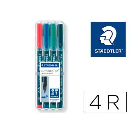 Rotulador Retroproyección Permanente Staedtler Lumocolor 317 4 Colores Surtidos Punta Superfina Redonda