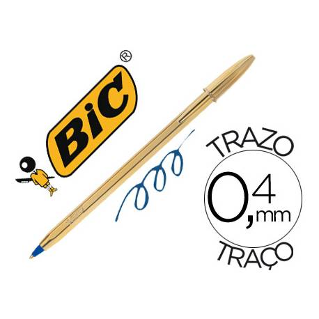 Boligrafo Bic Cristal Celebration Oro 0,4 mm Tinta Azul