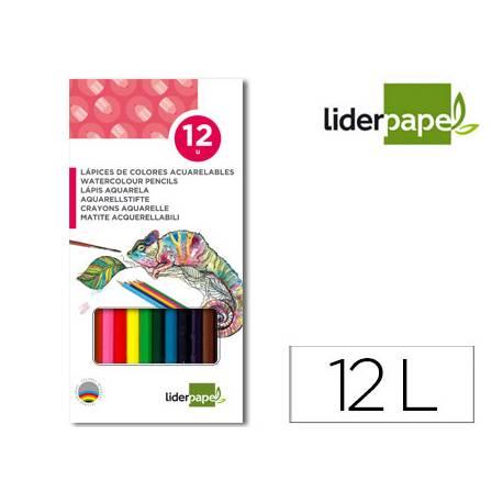 Lápices de colores acuarelables Liderpapel Caja de 12 colores
