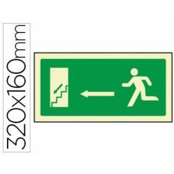 Señal Syssa salida emergencia izquierda escaleras