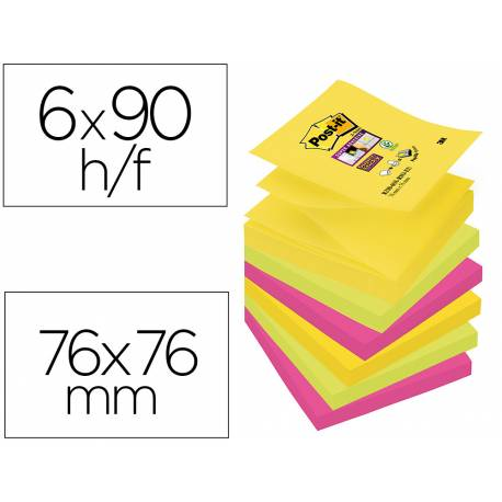 Pack blocs Post-it ® 76 x 76 mm surtidos