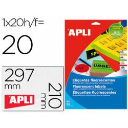 Etiqueta adhesiva Apli DIN A4 naranja fluorescente