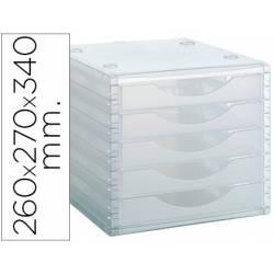 Modulo 5 cajones sobremesa Archivo 2000 transparente