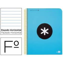 Bloc Antartik Folio Rayado Horizontal tapa Plástico 100g/m2 color Azul con margen