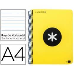 Bloc Antartik A4 Rayado Horizontal tapa Plástico 100g/m2 color Amarillo 5 bandas color