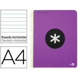 Bloc Antartik A4 Rayado Horizontal tapa Plástico 100g/m2 color Violeta 5 bandas color