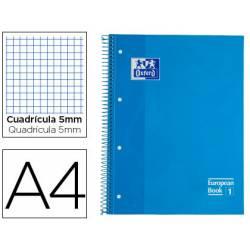 Cuaderno Oxford A4 Turquesa Tapa Extradura 80 hojas Cuadrícula 5 mm