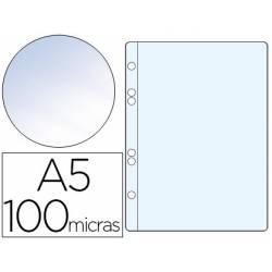 Funda multitaladro plastico Q-Connect Din A5 100 micras cristal bolsa de 10