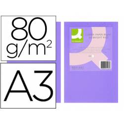 Papel color Q-connect A3 80g/m2 Lila intenso pack 500 hojas