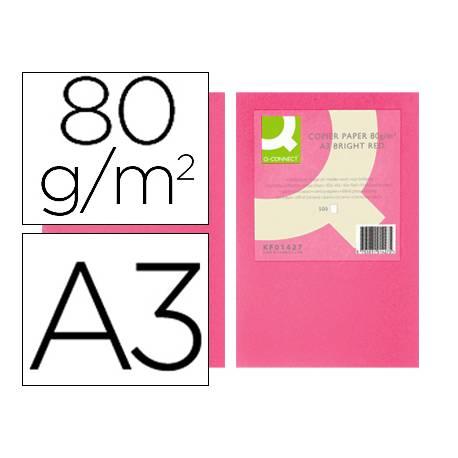 Papel color Q-connect A3 80g/m2 Rosa intenso pack 500 hojas