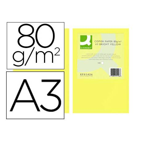 Papel color Q-connect A3 80g/m2 Amarillo intenso pack 500 hojas