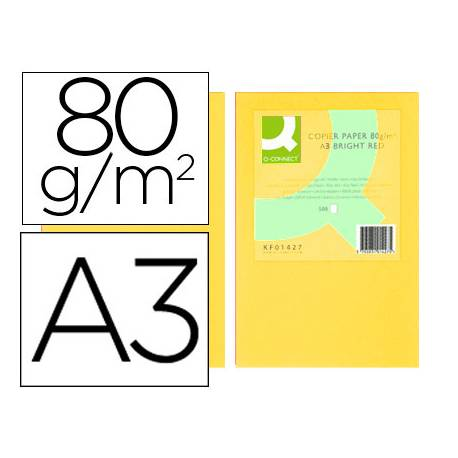 Papel color Q-connect A3 80g/m2 Amarillo pack 500 hojas