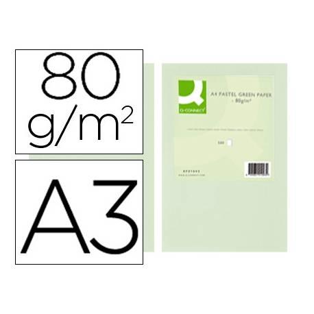 Papel color Q-connect A3 80g/m2 Verde pack 500 hojas