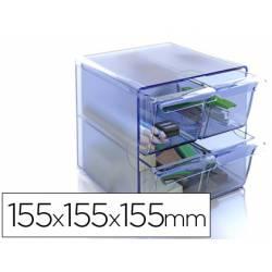 Archicubo Archivo 2000 4 cajones organizador modular color azul transparente