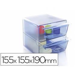 Archicubo Archivo 2000 organizador con 2 cajones color azul transparente