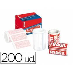 Etiquetas Apli fragil 50x100 mm rollo con 200 unidades