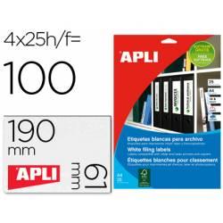 Etiquetas adhesivas Apli 1233 190x61 mm caja 25 hojas con 100
