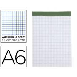 Bloc de notas Din A6 encolado Liderpapel 80 hojas cuadricula 4 mm