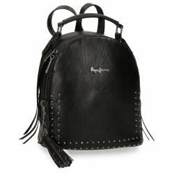 Bolso Mochila marca Pepe Jeans Chic negro 21 cm x 25 cm x 11 cm