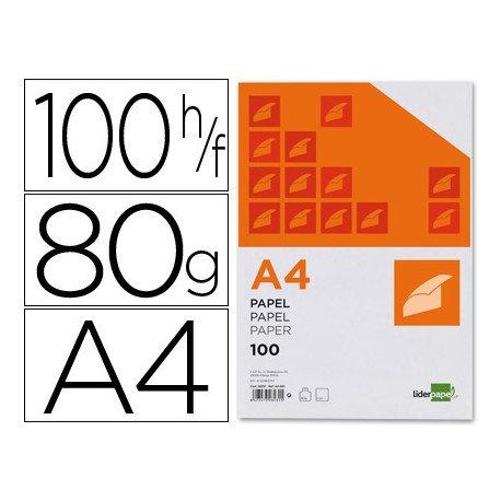 Papel de escritura A4 Liderpapel 80 g/m2 paquete de 100 hojas