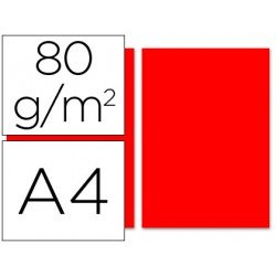 Papel color Liderpapel rojo A4 80g/m2