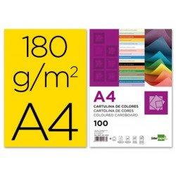 Cartulina Liderpapel amarillo a4 180 g/m2