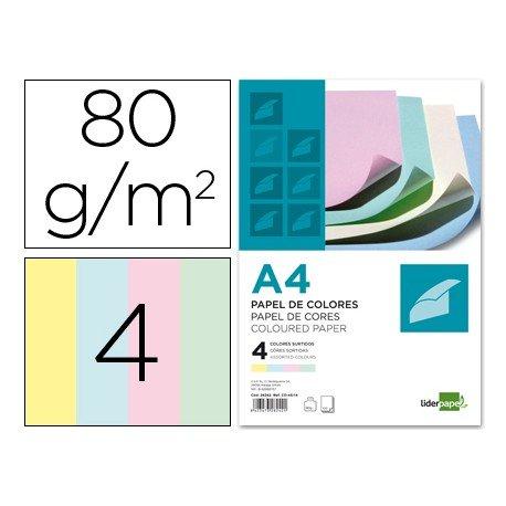 Papel color Liderpapel tamaño A4 80 g/m2 pack 100 hojas Colores Surtidos
