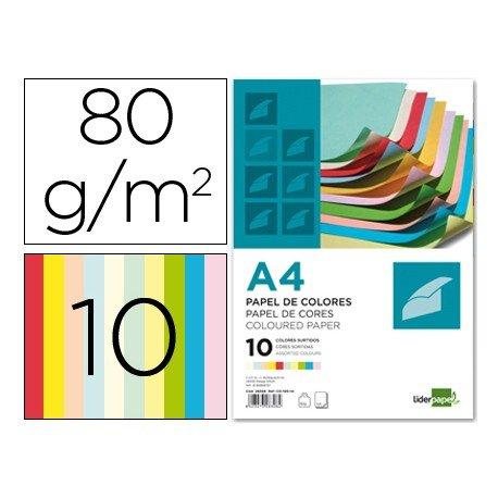 Papel Liderpapel Colores Surtidos 80 g/m2 A4 100 hojas
