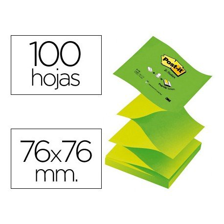 Post it , ® Bloc de notas adhesivas Z-Notes de 76 x 76 mm y 100 hojas