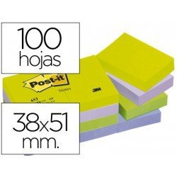 Post-it ® Bloc quita y pon colores ultra intensos
