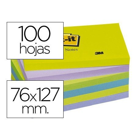 Post-it ® Bloc quita y pon neon 76 x 127 mm