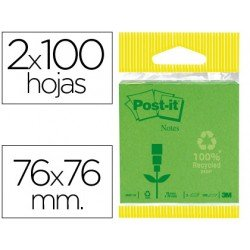 Bloc quita y pon Post-it ® verde pastel y oscuro