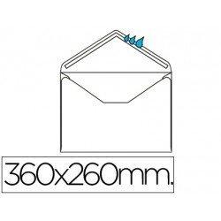Sobre N.16 Liderpapel, 260x360mm blanco folio especial engomado caja de 250 unidades solapa de pico.