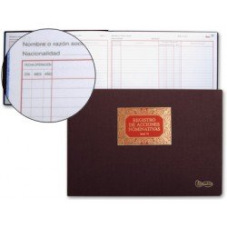 Libro Miquelrius Folio apaisado Registro de Acciones