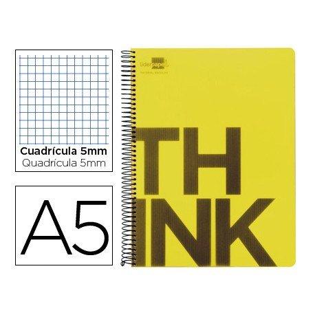 Bloc Din A5 Liderpapel serie Think cuadricula 5 mm amarillo