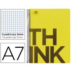 Bloc Din A7 Liderpapel serie Think cuadricula 5 mm amarillo